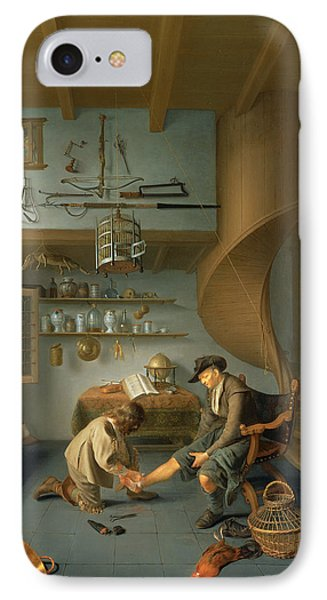 A Barber Surgeon Tending A Peasants Foot, C.1650 Panel IPhone Case by Koedyck