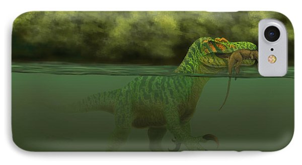 A Baryonyx Escapes Swimming Phone Case by Alvaro Rozalen