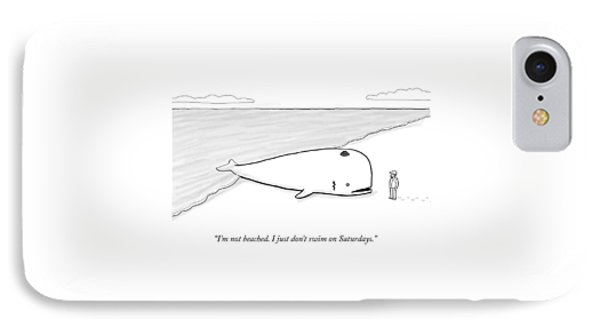 A Beached Whale Wears A Hasidic Rabbi Hat IPhone Case by Paul Noth