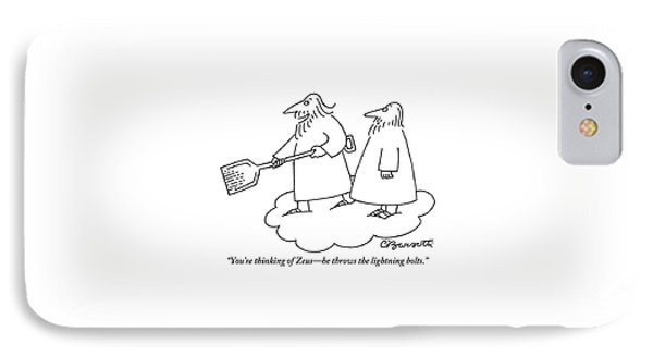A Bearded Man Standing On A Cloud Is Shoveling IPhone Case by Charles Barsotti