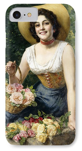 A Beauty Holding A Basket Of Roses IPhone Case by Gaetano Bellei