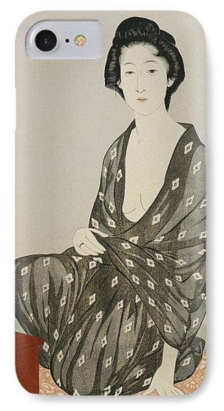A Beauty In A Black Kimono Phone Case by Hashiguchi