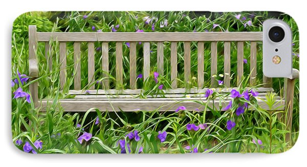 A Bench For The Flowers IPhone Case by Gary Slawsky
