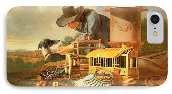 A Birdcatcher And His Dog  IPhone Case by Antonius Leemans
