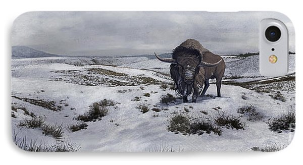A Bison Latifrons In A Winter Landscape Phone Case by Roman Garcia Mora