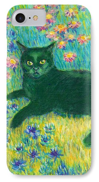 IPhone Case featuring the painting A Black Cat On Floral Mat by Jingfen Hwu