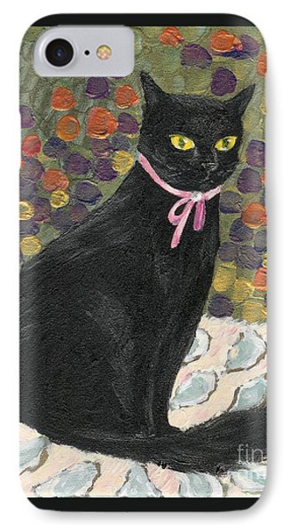 IPhone Case featuring the painting A Black Cat On Oyster Mat by Jingfen Hwu