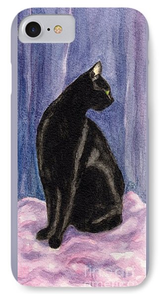 IPhone Case featuring the painting A Black Cat's Sexy Pose by Jingfen Hwu