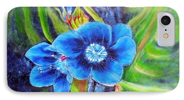 Exotic Blue Flower Prize For Blue Dragonfly IPhone Case by Kimberlee Baxter