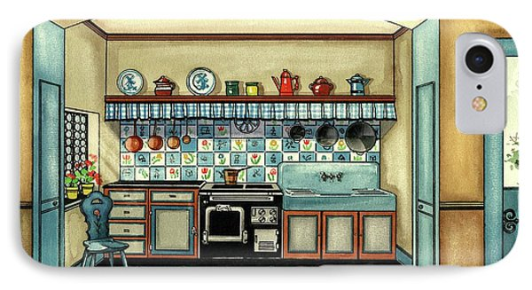 A Blue Kitchen With A Tiled Floor IPhone Case by Laurence Guetthoff