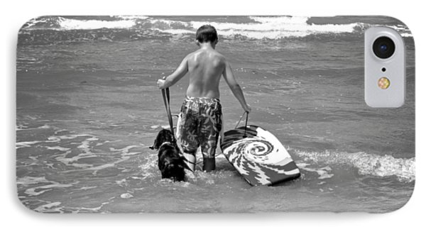 A Boy And His Dog Go Surfing Phone Case by Kristina Deane