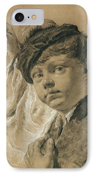 A Boy Holding A Pear Giacomo Piazzetta Giovanni Battista IPhone Case by Litz Collection