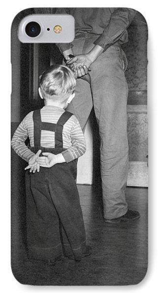 A Boy Imitates His Father IPhone Case