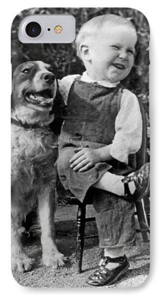 A Boy Laughs With His Dog IPhone Case
