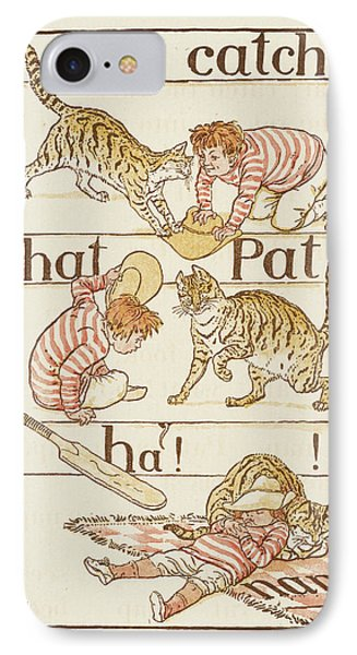 A Boy Playing With A Cat IPhone Case by British Library