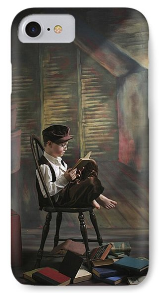 A Boy Posed Reading Old Books Victoria Phone Case by Pete Stec