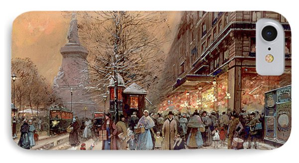 A Busy Boulevard Near The Place De La Republique Paris IPhone Case by Eugene Galien-Laloue