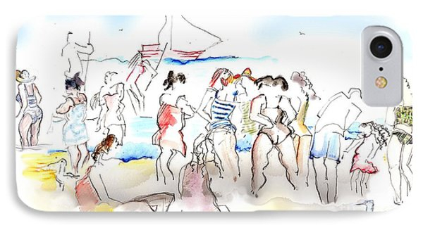 A Busy Day At The Beach IPhone Case by Carolyn Weltman