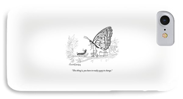 A Butterfly Speaks To A Caterpillar IPhone Case by Mort Gerberg