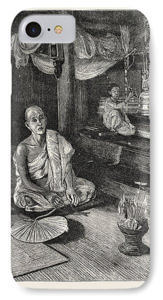 A Call To Worship Interior Of Buddhist Monastery IPhone Case by English School