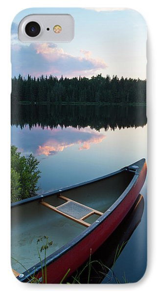 A Canoe On Little Berry Pond In Maine's IPhone Case by Jerry and Marcy Monkman