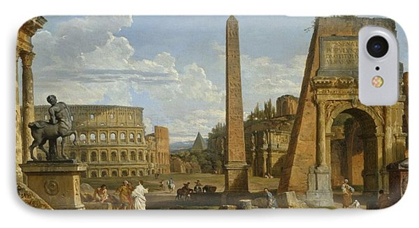 A Capriccio View Of Roman Ruins, 1737 Phone Case by Giovanni Paolo Pannini or Panini