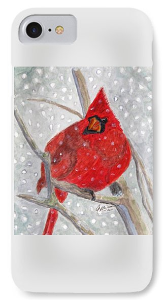 A Cardinal Winter IPhone Case by Angela Davies