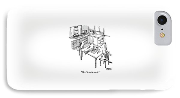 A Cat And Dog Play Scramble In A Kitchen. 'grrr' IPhone Case by Shannon Wheeler