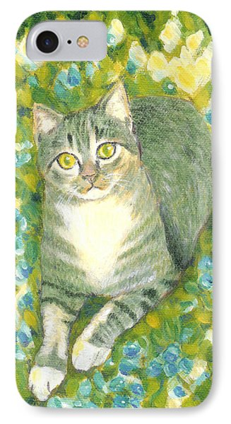 A Cat And Flowers IPhone Case
