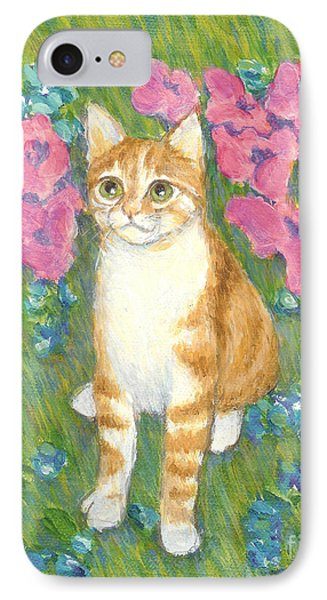 IPhone Case featuring the painting A Cat And Meadow Flowers by Jingfen Hwu