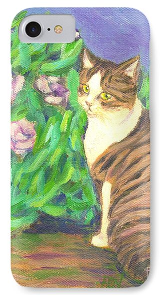 IPhone Case featuring the painting A Cat At A Garden by Jingfen Hwu