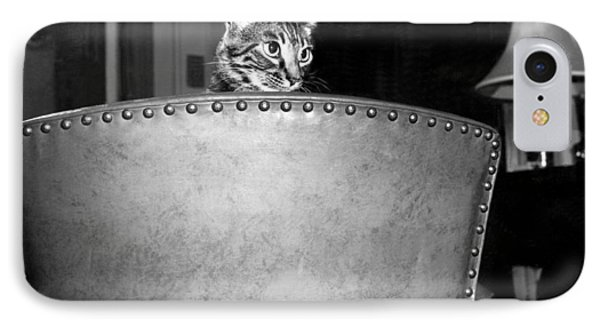 A Cat Peers Over A Chair IPhone Case by Underwood Archives
