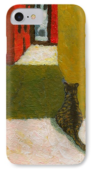 IPhone Case featuring the painting A Cat Waiting For Someone's Return by Jingfen Hwu