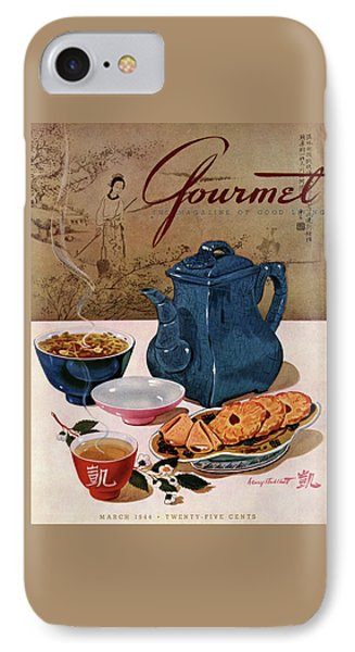 A Chinese Tea Pot With Tea And Cookies IPhone Case by Henry Stahlhut