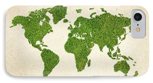 World Grass Map Phone Case by Aged Pixel