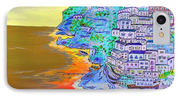 A Coastal View Of Positano IPhone Case by Loredana Messina