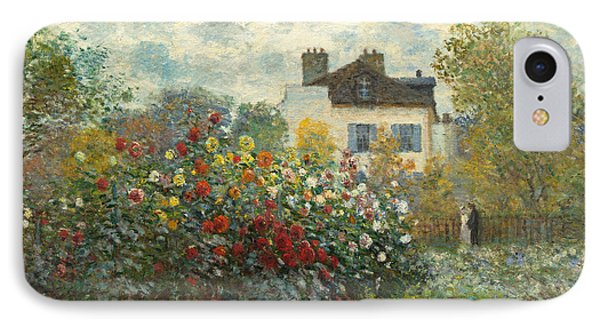 A Corner Of The Garden With Dahlias IPhone Case by Claude Monet