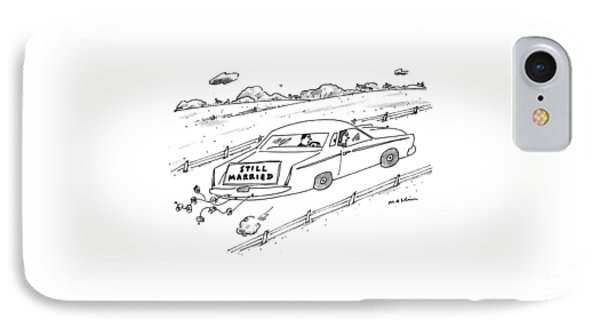 A Couple Driving A Car With A Still Married Sign IPhone Case by Michael Maslin