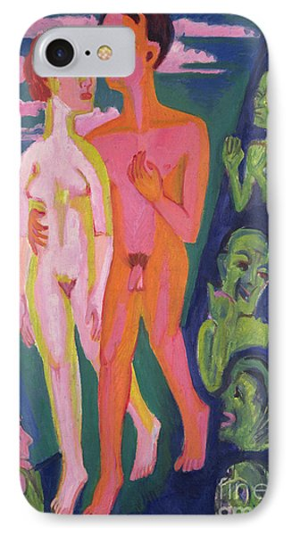 A Couple In Front Of A Crowd IPhone Case by Ernst Ludwig Kirchner