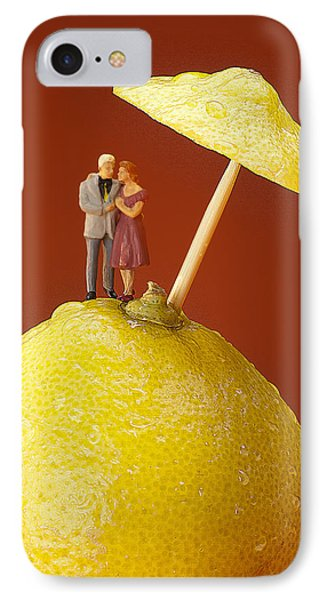IPhone Case featuring the painting A Couple In Lemon Rain Little People On Food by Paul Ge