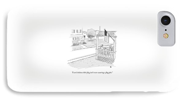 A Couple On A Porch Looking Over At A House IPhone Case by Paul Noth