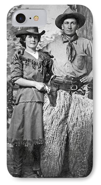 A Couple Poses In Western Gear IPhone Case by Underwood Archives