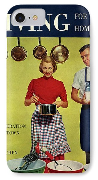A Couple Standing Next To Ekco Products Cooking IPhone Case by Phillipe Halsman