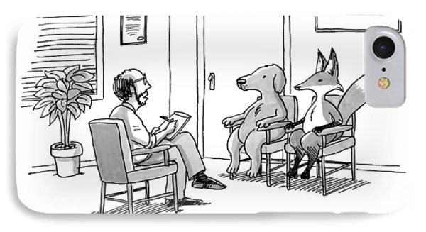 A Couples Therapist Speaks To A Fox And A Dog IPhone Case