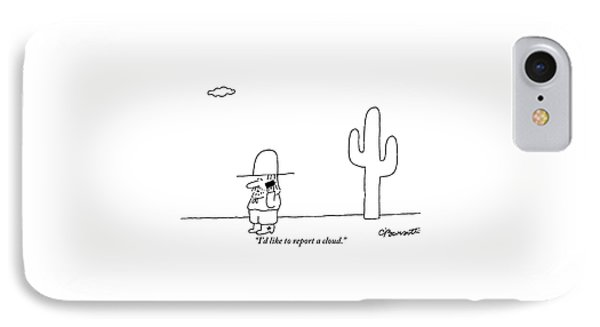 A Cowboy Talks On A Cell Phone In A Desert IPhone Case by Charles Barsotti