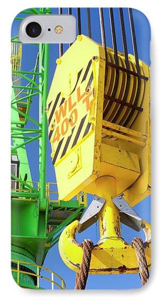 A Crane Hook On A 400 Tonne Crane IPhone Case by Ashley Cooper