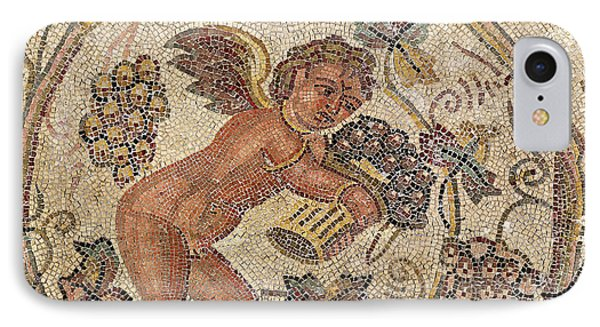 A Cupid Picking Grapes, Fragment Of Pavement From Carthage, Tunisia Mosaic IPhone Case by Roman School