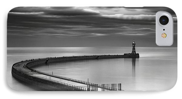 A Curving Pier With A Lighthouse At The Phone Case by John Short