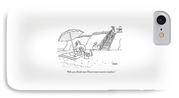 A Dad Seated Beneath An Umbrella At The Beach IPhone Case by Jack Ziegler