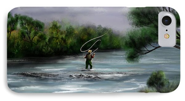 A Day On The Stream - Flyfishing IPhone Case by Ron Grafe